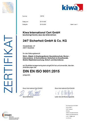 Kiwa Zertifikat